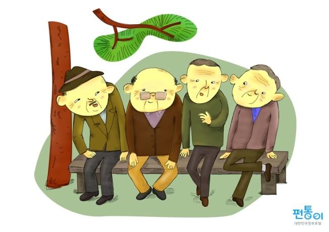 어르신들이 벤치에 앉아 있는 모습